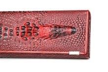 Пояса из натуральной кожи 3D тиснение аллигатора Дамы крокодил Длинный клатч женские кошельки для женщин кошелек женский держател