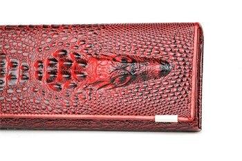 Kulit Asli 3D Embossing Alligator Wanita Buaya Genggam Panjang Dompet Wanita Dompet Wanita Dompet Koin Pemegang Merek