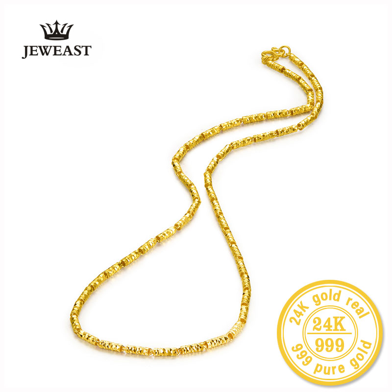 цена на 24k Gold Woman Chain Necklace Real Hot Sell Fine Jewelry Wedding Engagement Gift Female Pure AU999 SOLID trendy 2017 new good