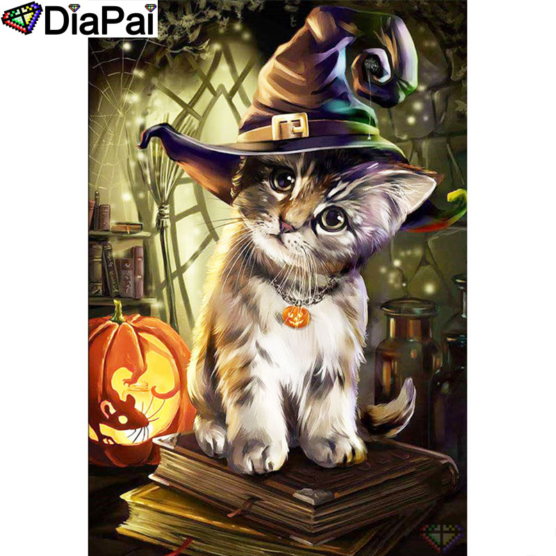 DIAPAI Diamond Painting 5D DIY 100 Full Square Round Drill quot Animal cat hat book quot Diamond Embroidery Cross Stitch 3D Decor A24632 in Diamond Painting Cross Stitch from Home amp Garden