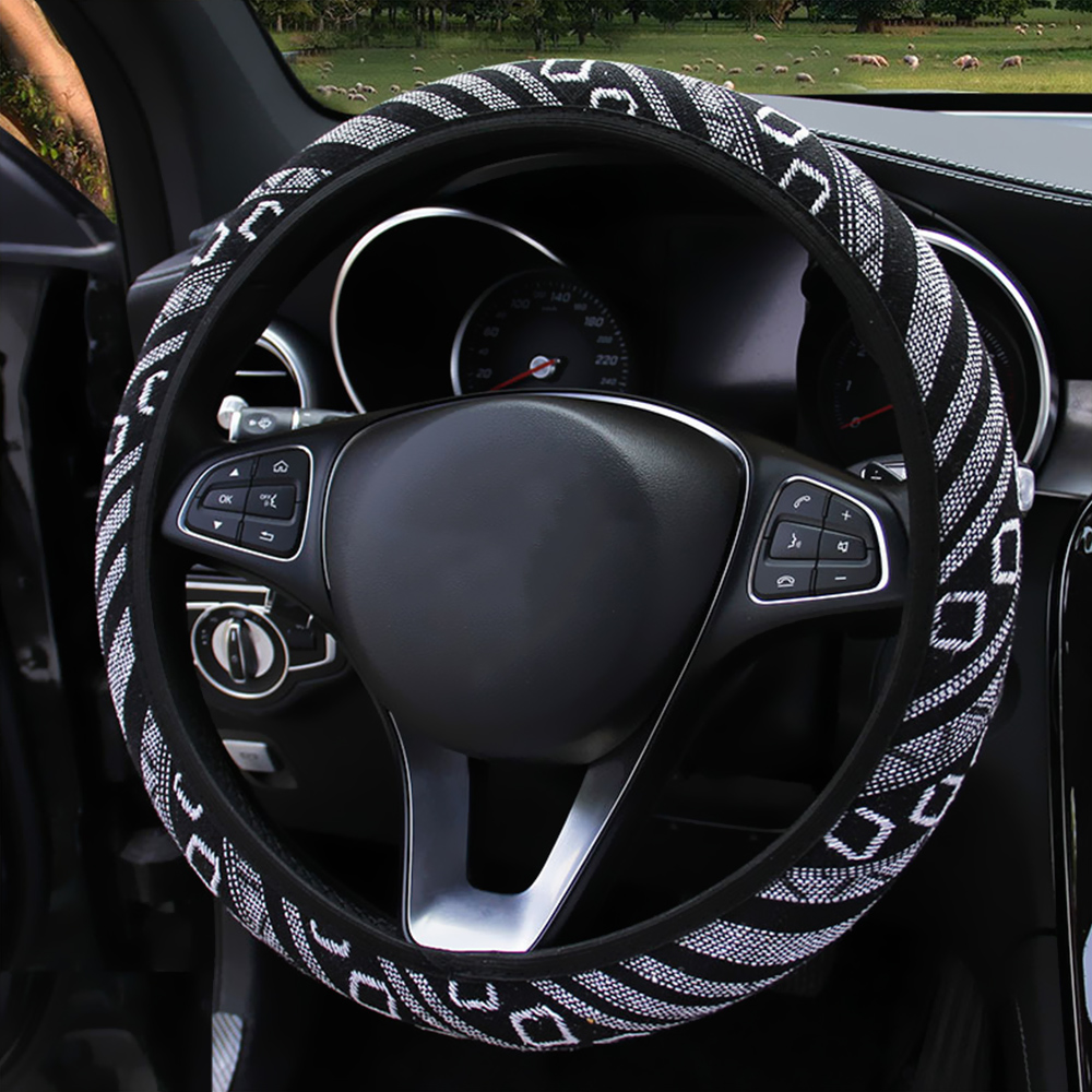 Image 3 - FORAUTO Elastic Car Steering Wheel Cover Ethnic Style Car Steering wheel Covers Auto Decoration Car Accessories Linen Universal-in Steering Covers from Automobiles & Motorcycles