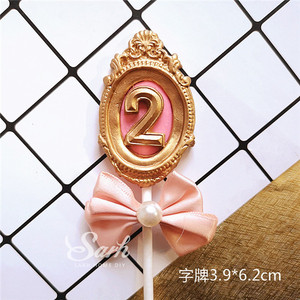 Image 4 - 高貴なbnowknotフレーム番号1st 2 3ピンクブルーケーキトッパーデザート装飾誕生日パーティー素敵なギフト