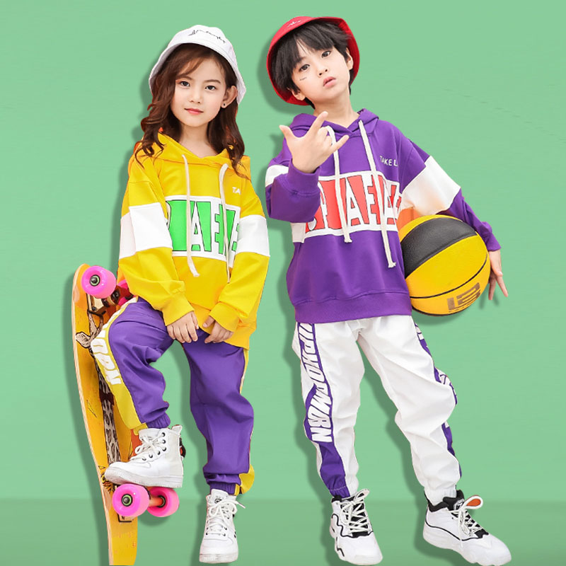 15d582d21 Stage Competition Ballroom Loose Street Dance Clothes for Girls Boys  Children Jazz Hip Hop Clothing Kids