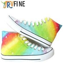 YJRVFINE Customizable Gradient Rainbow Shoes Boy Men's Hand Painted Casual Canvas Shoes Men Four Season Shoes R1021M