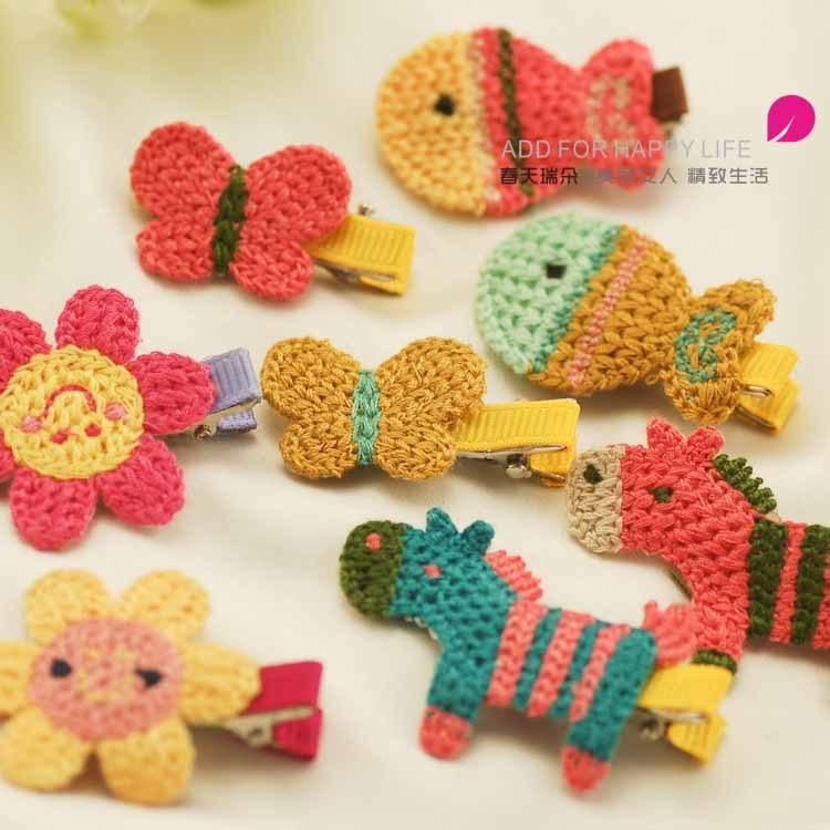 Girls Hair Accessories Handmade Knitted Hair Clip Children Hairpin Cartoon   Headwear   Amazing