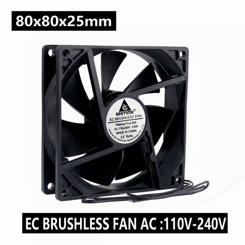 110V 120V 220V 240V Ball 80mm 80x80x25mm Computer Cooling Fan With Grill Screws