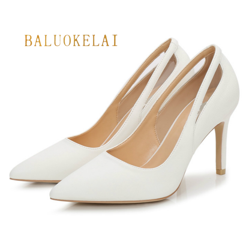 Women Pumps 9CM Sexy High Heels Women Shoes Thin Heels Female Shoes Wedding Shoes PU Leather White Ladies Shoes,K-053