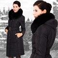2017 jaqueta de Inverno mulheres Parka Moda Feminina engrossar casaco para baixo marca de alta qualidade gola de pele de raposa projeto longo Plus Size casaco