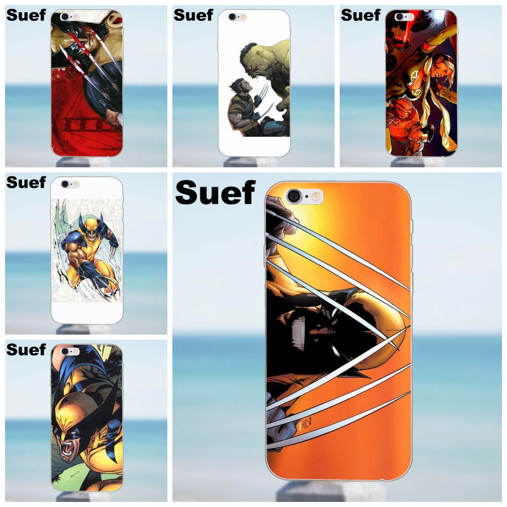 Suef Wolverine Comics Soft Fashion Case For iPhone X 4 4S 5 5S 5C SE 6 6S 7 8 Plus Samsung Galaxy A3 A5 J1 J3 J5 J7 2016 2017 image