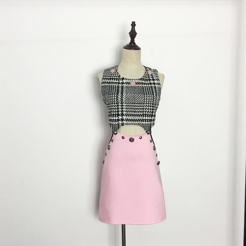 summer 2017 Angela Baby star with pink midriff waist hollow rivet Plaid sleeveless vest dress
