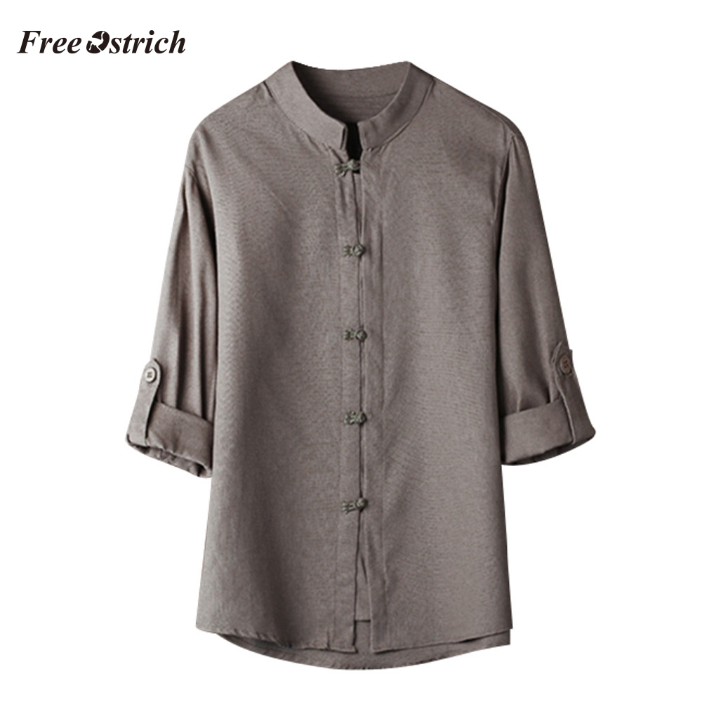 Free Ostrich Men's Specialty Button-down Casual Solid Shirt Chinese Three Quarter Linen Blouse Kung Fu Shirt Loose Soft Tops