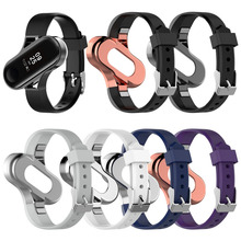 For xiaomi band 3 bracelet metal wrist strap stainless steel millet 3NFC version classic three beads solid