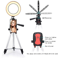Phone Photography Video Live Show Makeup Dimmable 14.5cm LED Selfie Fill Ring Light Stand Lamp Photo Studio Kit Tripod