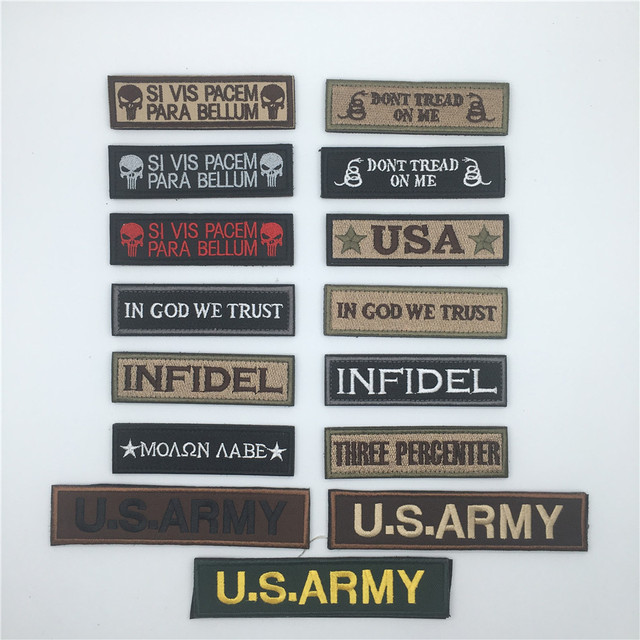 44b1b1337b01 US $1.58 |Quality Embroidered Patch hook and loop fasteners rectangle LOGO  OFFICER Patch Morale Tactical Patch Army Badge -in Patches from Home & ...