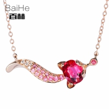 BAIHE Solid 14K Rose Gold 0.50ct Certified Oval Genuine Natural Tourmaline Wedding Women Trendy Fine Jewelry Elegant Necklaces