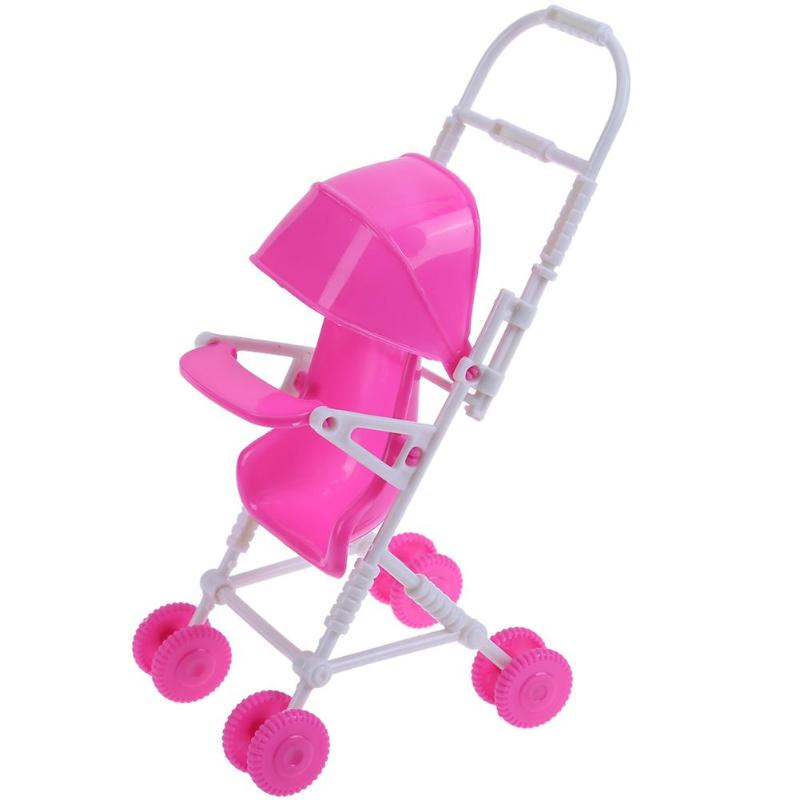 Plastic Doll Accessories Baby Stroller Carriage Trolley Nursery Furniture Toy for Barbie Doll Kids Girl Play House Role Play Toy