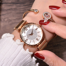 Luxury Rhinestone Watches Fashion Women Diamond Watch Ladies Rose Gold Magnet Stainless Steel Mesh Wristwatch Roman Numerals New lvpai fashion roman numerals rhinestone watches women luxury stainless steel quartz wrist watch women s diamond vogue watch n