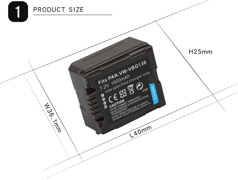 JHTC 1Pc 1500mAh Camera Battery For Panasonic VW-VBG070 VW-VBG130 VW-VBG260  SDR-H20 SDR-H28 SDR-H258 HDC-SD1