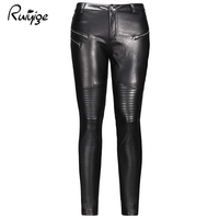 Ruiyige 2017 Winter New Sexy Women Black Solid Pleated Zipper Stretch Button Bodycon Pu Leather Pants