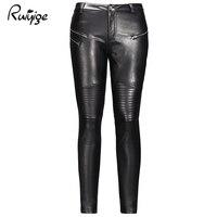 Ruiyige 2017 Zima New Sexy Kobiety Czarny Przycisk Solidna Plisowane Zipper Stretch Bodycon Pu Skórzane Spodnie Rock Ołówek Długie Spodnie
