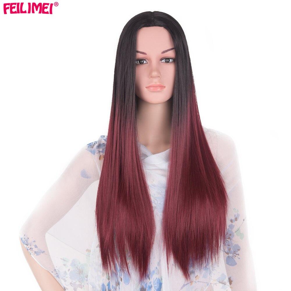 Feilimei Μέση Μέρος Συνθετική Περούκα Ombre - Συνθετικά μαλλιά - Φωτογραφία 2