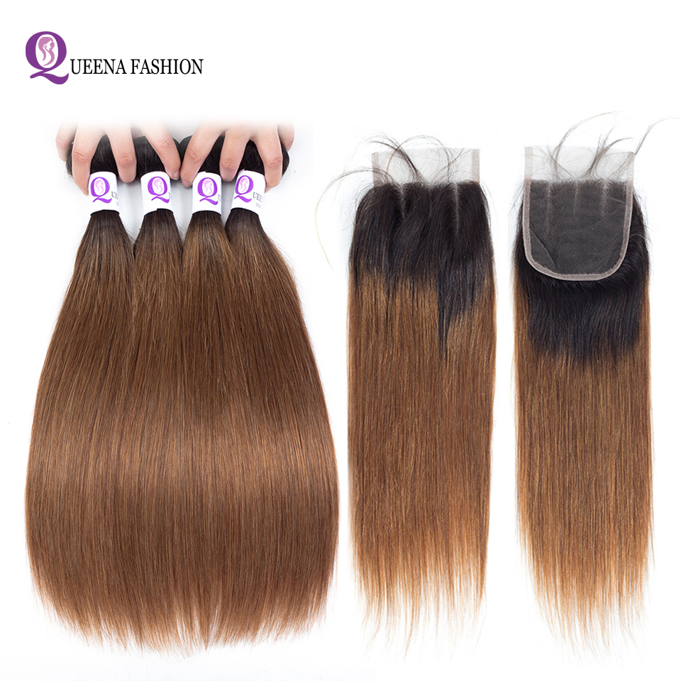 Queena Fashion Pre-Colored Indian Straight Ombre Human Hair Lace Closure 1b/27 1b/30 Two Color 4 Bundles With 4*4 Lace Closure