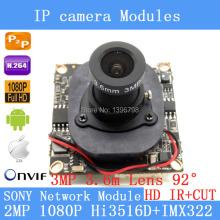 "1 / 2.8 "" SONY Hi3516D+ IMX322 IP Camera Module Board ONVIF P2P 1080P 2MP IP Camera 3MP 3.6MM 92 degree lens security camera"