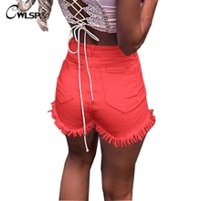 CWLSP 2018 Solid Cotton Tassel Jeans Shorts For Women Summer Sexy Denim Five-dimensional Hot With Pocket QZ2799
