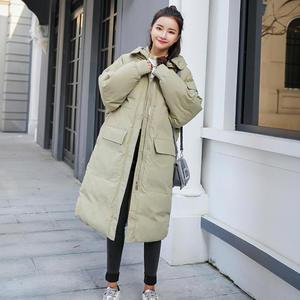 Image 5 - Женская пуховая куртка с капюшоном, длинная хлопковая парка, теплое зимнее пальто, курточка мальчикового кроя, C5074
