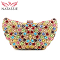 NATASSIE Women Crystal Clutch Bag Lady Wedding Clutch Purse With Colourful Diamonds Sisters Party Clutch And Handbag L1052