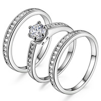 New fashion 3 In 1 Inlay White/Zircon 18KT White Gold Filled wedding Rings for lady's Size: 4,5,6,7,8,9,10