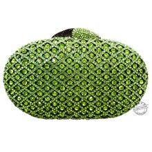 LaiSC grün kristall handtasche luxus diamant kupplung türkis abendtasche ovale form hochzeit sac Handwerk frauen pochette SC099