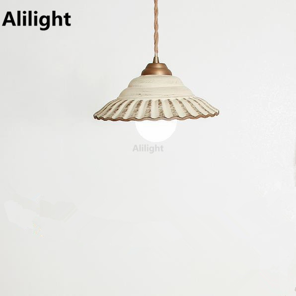 Vintage Korean Style Retro Industrial Country Pendant Lamp Porcelain  Lampshade Hanging Light Indoor Outdoor Porch Light
