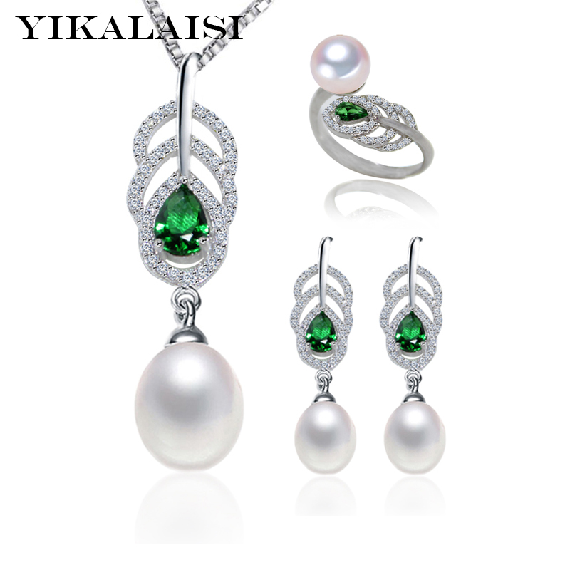 YIKALAISI 2017 100% natural freshwater pearl set 8-9mm pearl 925 Sterling Silver jewelry ring stud Earrings Pendant For Women copper jewelry leopard head hanging pearl stud earrings tiger head green rhinestone black stud earrings for women
