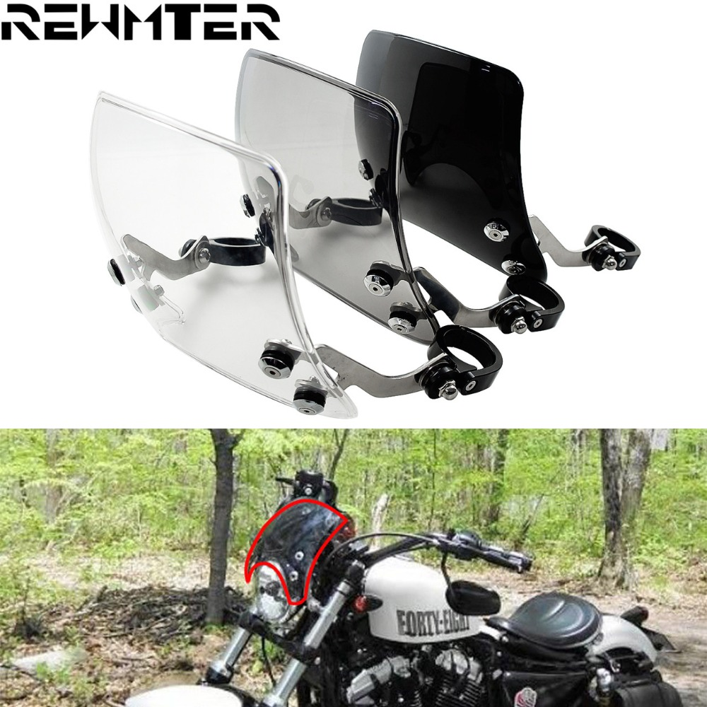 39mm Motorcycle Windshield Windscreen Smoke/Black/Clear Aluminum For Harley Sportster XL 883 1200 Models 2004-2019