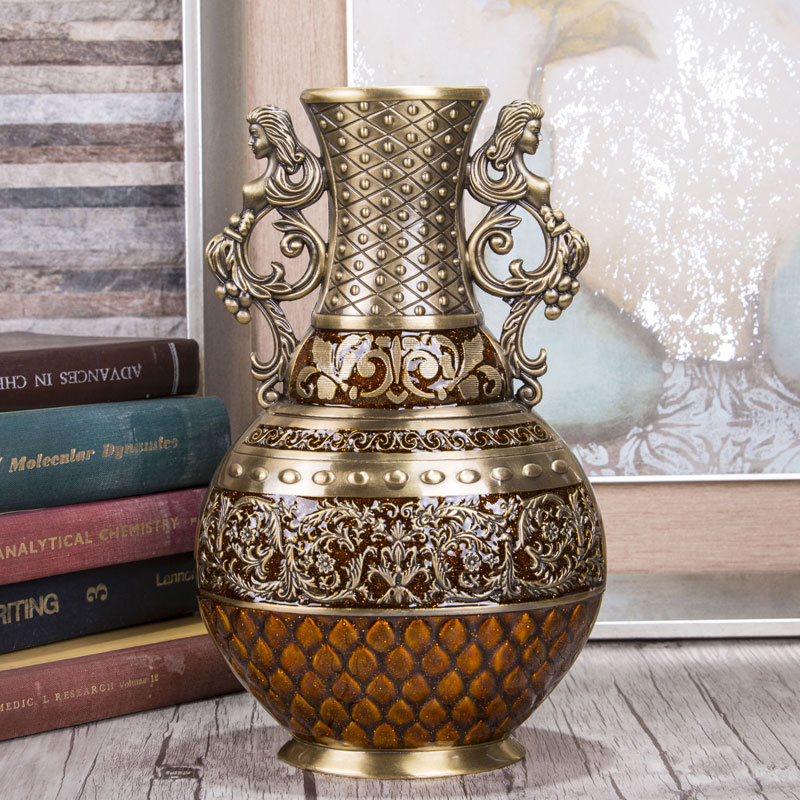 Europe H25CM bronze color vintage vase home decoration floor vase alloy metal flower vase for home