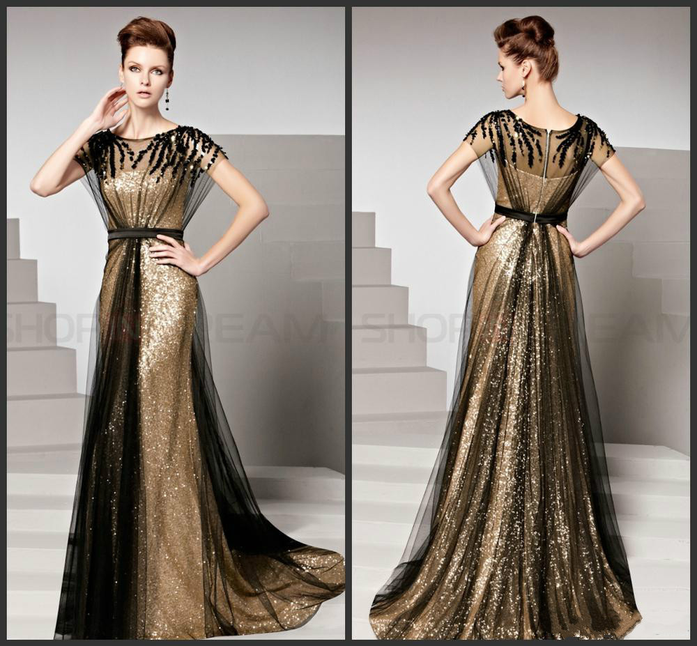 New Fashion Scoop Crystal Black Tulle Long Evening Dress Gold Sequn