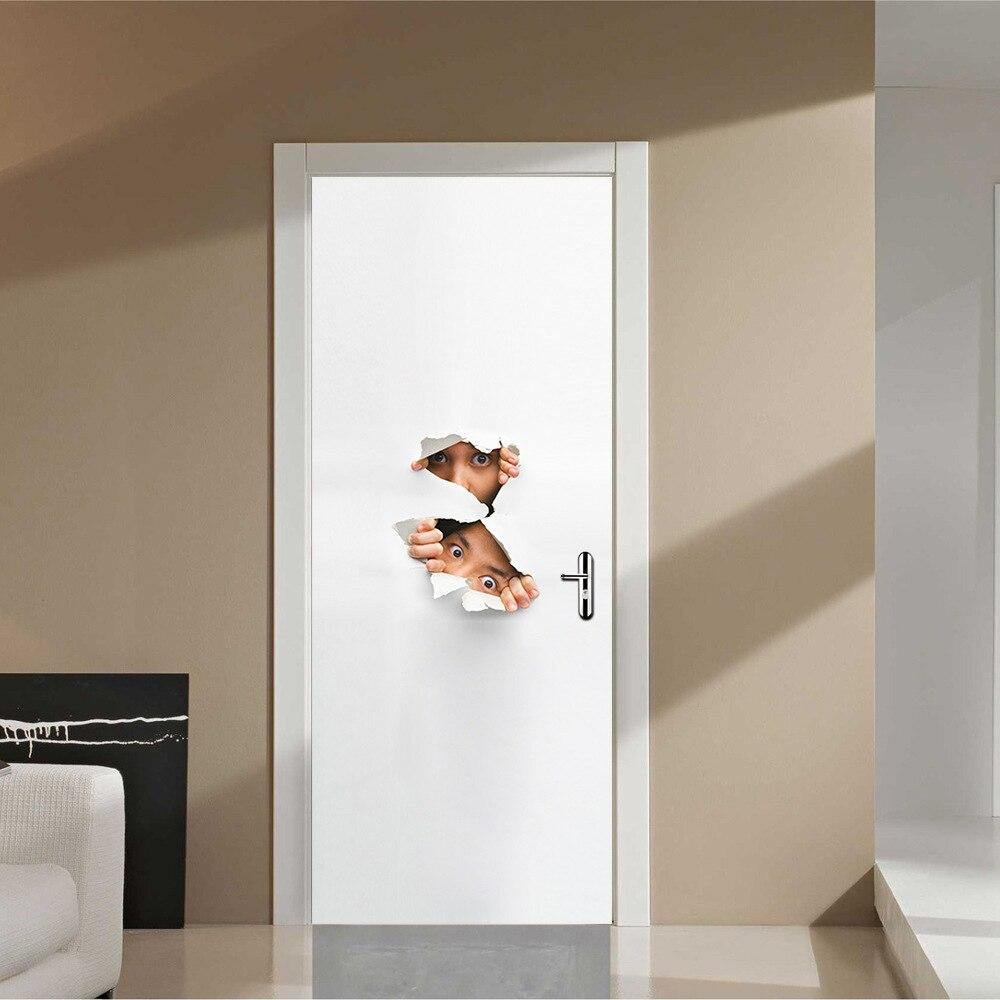Waterproof Door <font><b>Sticker</b></font> Imitation 3D Decal 2 pcs/set Peeping <font><b>Children</b></font> Wall <font><b>Stickers</b></font> DIY Mural Bedroom Home Decor PVC Poster 2D