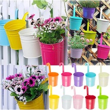 10pcs Garden Metal Iron Hanging Baskets Balcony Wall Hanging Plant Pot with Detachable Hanger / Colorful Home Decor