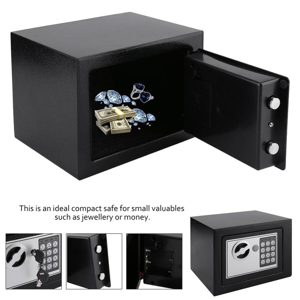 Coffre-fort électronique en acier massif avec serrure à clavier numérique 4.6L Mini mallette de rangement verrouillable pour bijoux coffre-fort - 2