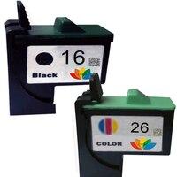 2PK 16 + 26 10N0026 + 10N0016 Cor Preta Cartucho de Tinta Compatível Para Lexmark #26 #16 Z500 Z510 Z513 Z515 Z517 Z600 i3 Impressora