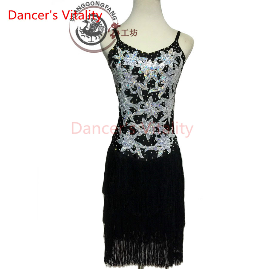 Dancers Vitality Harness Embroidered Back V Opening Latin Dance Dress Women Samba Salsa Tango Dress For Latin Competition Dress