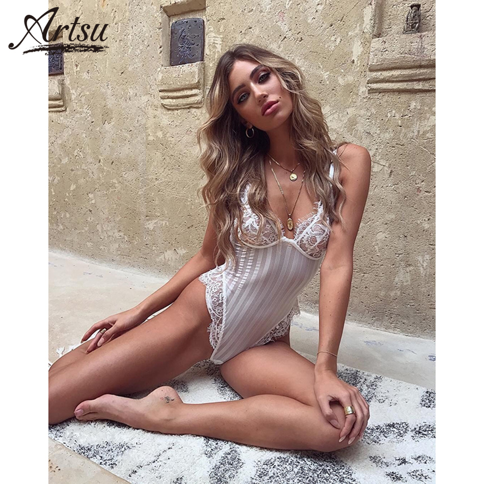Artsu Womens Solid Striped Lace Bodysuits Cocktail Club 2018 Summer Sexy Backless Bodysuits Hot Sale New See Through Swimsuits