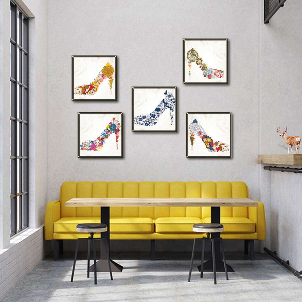 Unframed Multiple Pieces Canvas Flowers High Heels Prints Wall Pictures For Living Room Wall Art Decoration 2018 Dropshipping