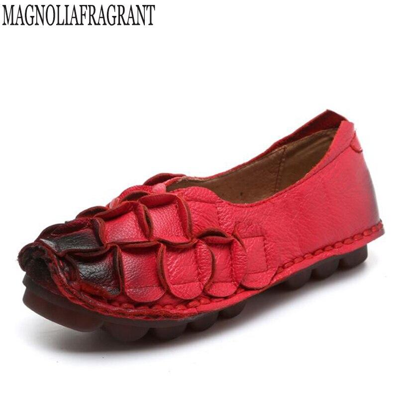 2018 chaussures plates en cuir véritable femme mocassins cousus à la main mocassins chaussures de printemps décontractées flexibles femmes appartements femmes chaussures k195