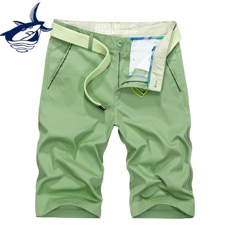 Tace & Shark Brand Casual Shorts Men Clothes 2018 Summer Cotton Knee Length Cargo Shorts Green Fashion Men's Shorts Homme