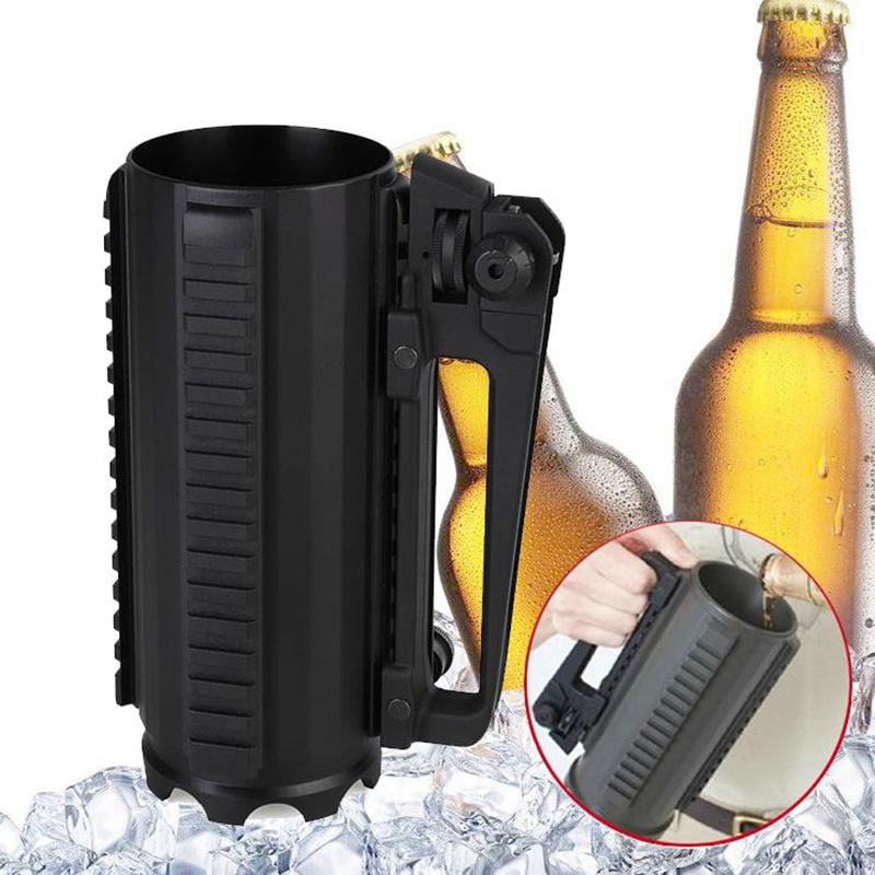 Tactical Military Multifunctional Aluminum Detachable Carry Battle Rail Mug Cup Sighting Telescope 3 sides Picatinny tactical mug cup multi function military hunting gun accessories aluminum handled carry detachable large battle coffee beer mug