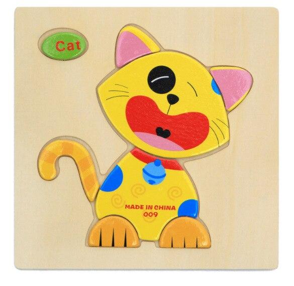 3D деревянные головоломки, игрушки для детей, Деревянные 3d Мультяшные головоломки с животными, интеллектуальные детские развивающие игрушки для детей - Цвет: Многоцветный