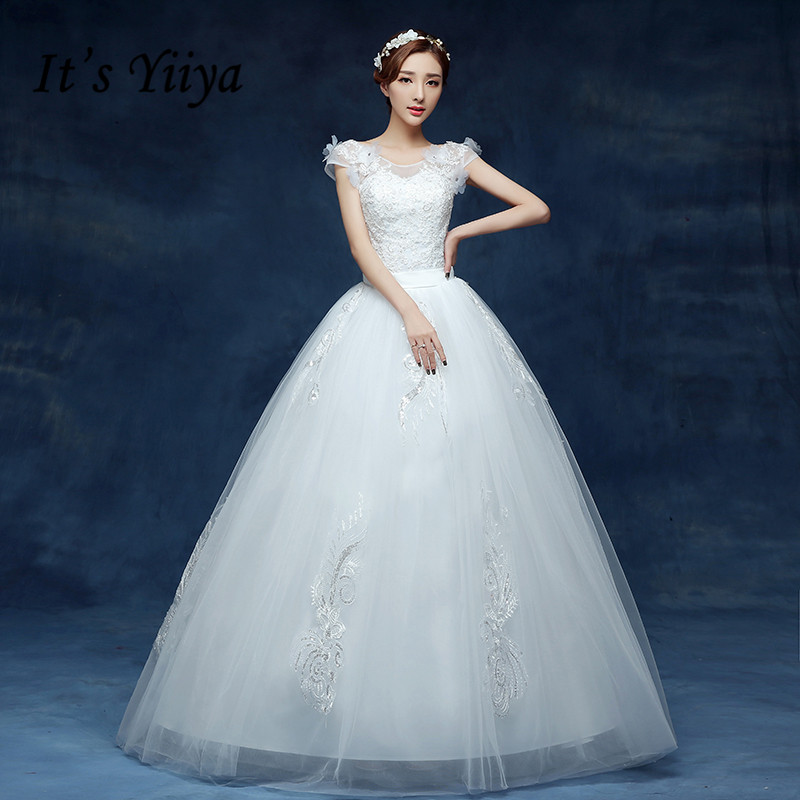Free Shipping Vestidos De Novia Real Photo White Flowers Lace Wedding  Dresses Cheap Short Sleeves Bride acad37e2597e