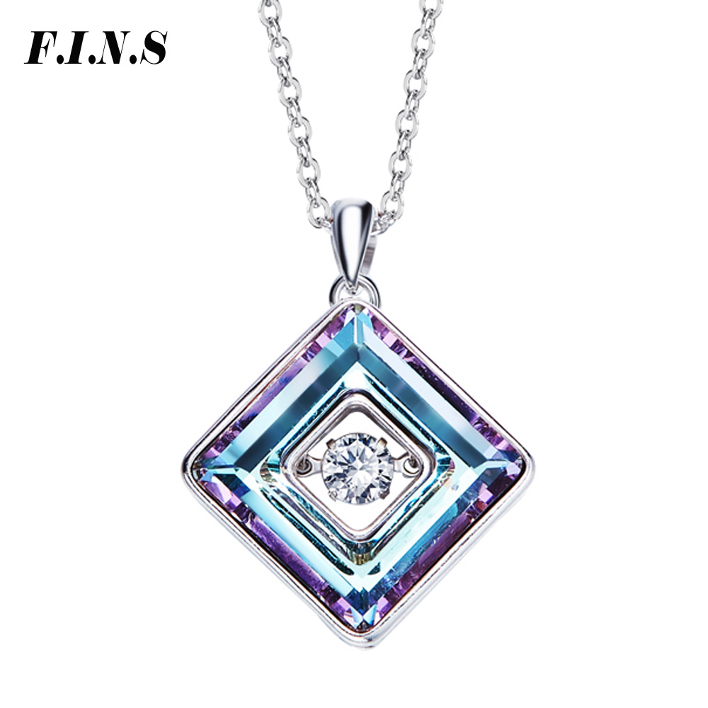 F.I.N.S Dancing Stone Necklace Women Pendants Green Purple Crystal Charms S925 Sterling Silver Jewelry FashionF.I.N.S Dancing Stone Necklace Women Pendants Green Purple Crystal Charms S925 Sterling Silver Jewelry Fashion